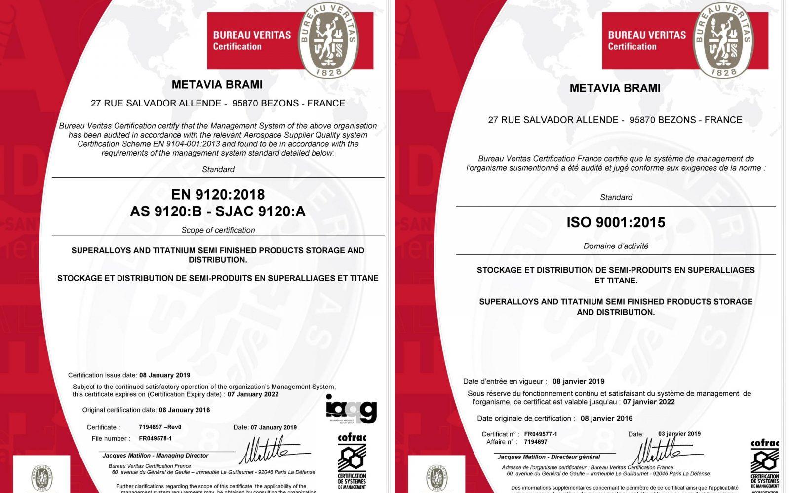 certificat metavia EN
